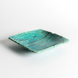 Plat rect Turquoise terre