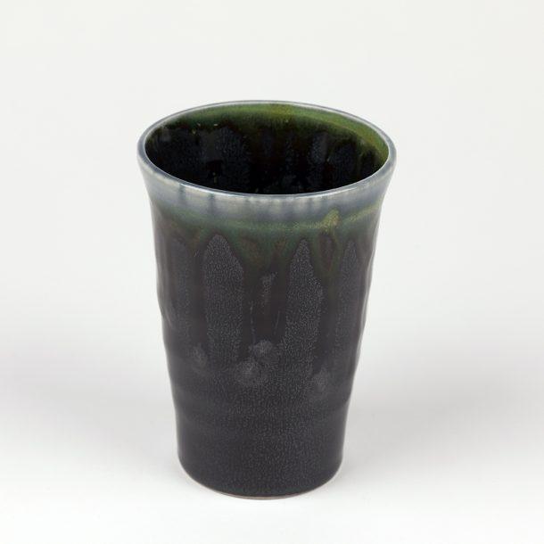 image produit Gobelet haut noir coulures paon