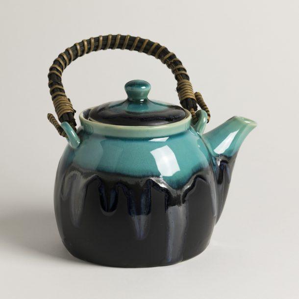 image produit Théière Noire bordure Turquoise
