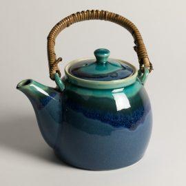 Théière Bleue bordure Turquoise