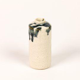 Mini vase tube Blanc-Bleu