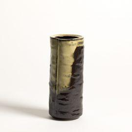 Vase tube plié brun neigeux