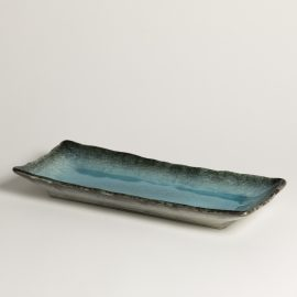 Plat rect.Turquoise bord gris