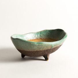 Coupe/pot Shiga ovale turquoise