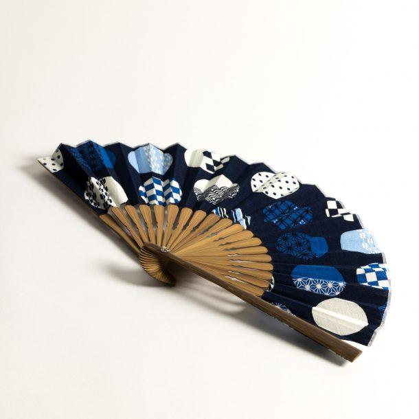 image produit Eventail Coton HM Ronds Bleus