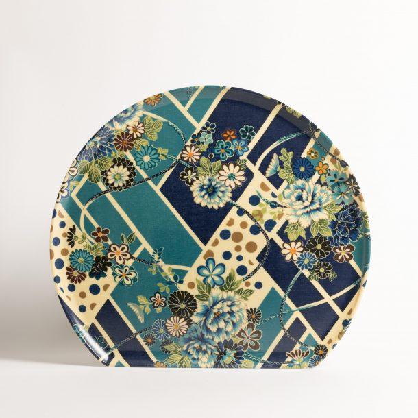 image produit Plateau 1/2Lune Fleurs Bleu