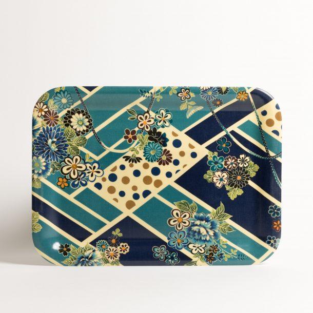 image produit Plateau rect.Fleurs Bleues