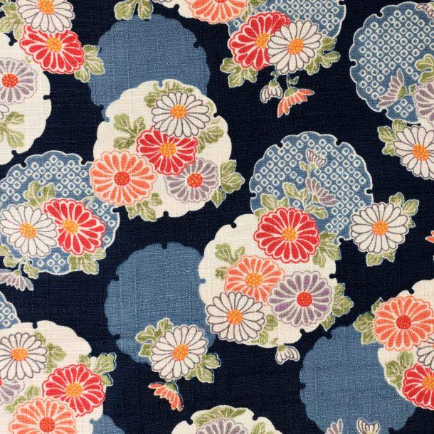 image produit Coton/m Médaillons Fleurs Noir
