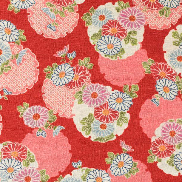 image produit Coton/m Médaillons Fleurs Rouge