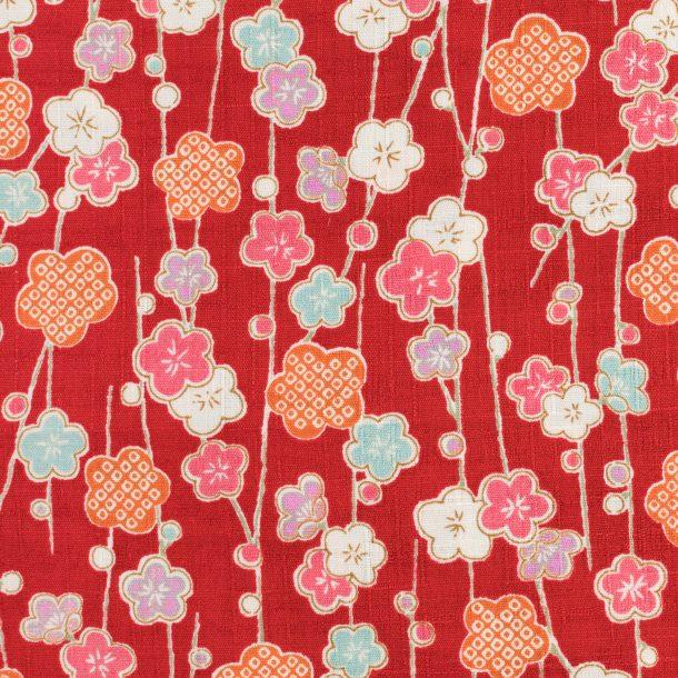 image produit Coton/m Lianes Fleurs Rouge