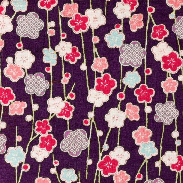 image produit Coton/m Lianes Fleurs Violet