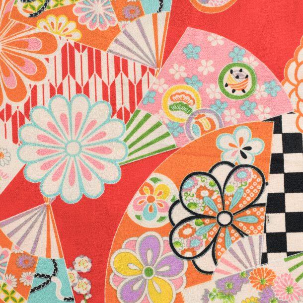 image produit Coton/m Chiri.Fan Fleurs Rouge