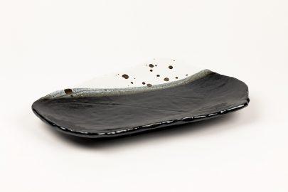 Plat oblong Blanc-noir tacheté