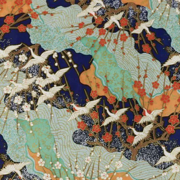 image produit Papier Washi Yuzen Grues Bleu