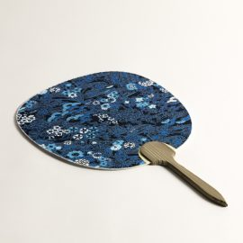 Uchiwa Indigo Fleurs
